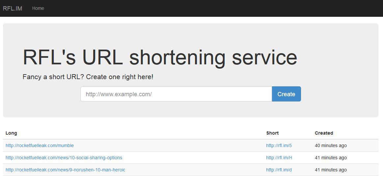 URL shortener page